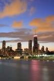 芝加哥黄昏地平线 图库摄影