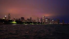 芝加哥,伊利诺伊地平线在晚上 影视素材