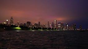 芝加哥,伊利诺伊地平线在晚上 股票视频