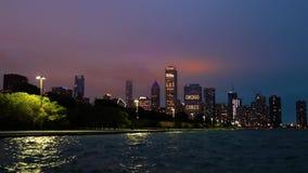 芝加哥,伊利诺伊地平线在晚上 股票录像