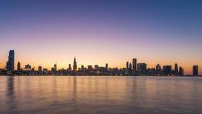 芝加哥,伊利诺伊,美国湖边平地地平线 股票录像