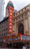 芝加哥,伊利诺伊,美国- 2016年3月:芝加哥,伊利诺伊 芝加哥剧院作为cityIt的标志是第一自由的 免版税库存图片