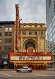 芝加哥,伊利诺伊- 7月04 :芝加哥剧院在1921年打开的, 库存图片