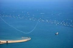 芝加哥,伊利诺伊-美国- 2017年8月19日:芝加哥空气和水 免版税库存图片