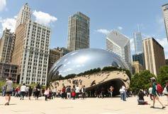 芝加哥,美国- 2018年6月05日:在云门附近的人们, publ 免版税库存图片