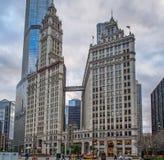 芝加哥,美国-象征的里格利大厦在芝加哥,美国 库存照片