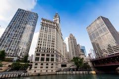 芝加哥,里格利大厦在芝加哥 免版税库存照片