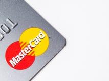 芝加哥, IL,美国, 2月12,2017,关闭一张万事得卡信用卡为仅社论使用 免版税库存照片