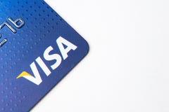 芝加哥, IL,美国, 2月12,2017,关闭一张签证信用卡为仅社论使用 免版税图库摄影
