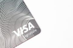 芝加哥, IL,美国, 2月12,2017,关闭一张签证信用卡为仅社论使用 免版税库存图片