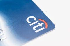 芝加哥, IL,美国, 2月12,2017,关闭一张Citi信用卡为仅社论使用 库存照片