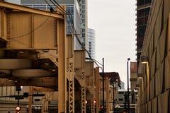 芝加哥` s偶象运输系统,高的el火车 库存照片