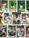 芝加哥Cub棒球收集的纸牌拼贴画 库存图片