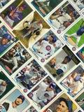 芝加哥Cub棒球收集的纸牌拼贴画 免版税库存图片