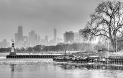 芝加哥Montrose港口B&W 免版税库存图片
