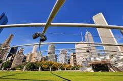 芝加哥Pritzker亭子钢制框架的特色样式 免版税库存照片