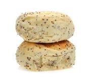 芝麻在白色的小圆面包面包 免版税图库摄影
