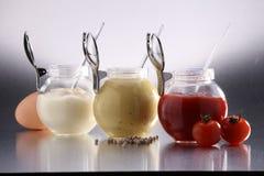 芥末、番茄酱和蛋黄酱 免版税库存图片