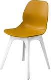 芥末颜色塑料椅子,现代设计师 在白色背景隔绝的椅子 家具例证内部向量 免版税库存照片