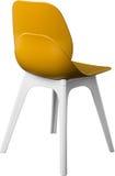 芥末颜色塑料椅子,现代设计师 在白色背景隔绝的椅子 家具例证内部向量 库存照片