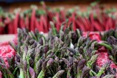 芦笋和大黄在农夫的市场上 免版税库存图片
