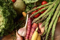 芦笋和新鲜的有机五颜六色的秋天收获菜 免版税库存图片