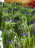 芦笋在农夫市场上 库存照片