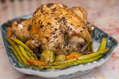 芦笋鸡烘烤烤了 库存图片