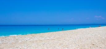 芦粟海滩,莱夫卡斯州,希腊 免版税图库摄影