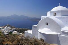 芦粟的海岛,希腊教会 免版税图库摄影