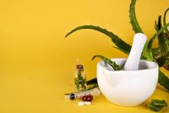 芦荟充分维拉叶子、白色灰浆切好的芦荟和瓶芦荟胶凝体或注入 图库摄影