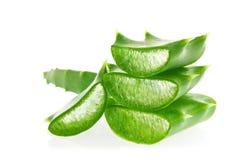 芦荟新鲜的水多的被切的绿色叶子  免版税库存照片