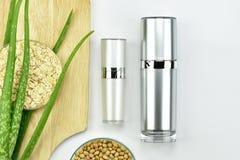 芦荟维拉植物,自然skincare美容品 有绿色草本叶子的化妆瓶容器 免版税库存照片