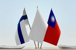 芬兰和台湾旗子  库存照片