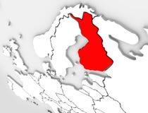 芬兰提取3D地图国家欧洲斯堪的纳维亚人地区 库存例证