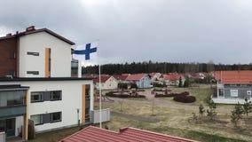 芬兰旗子在慢镜头的风振翼 影视素材