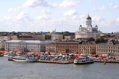 芬兰港口赫尔辛基视图 免版税库存图片