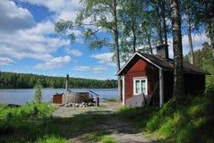 芬兰热蒸汽浴木盆 免版税库存照片
