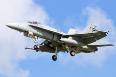 芬兰空军队F-18大黄蜂战斗机 免版税库存照片