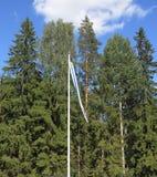 芬兰,北博滕区:地方家庭信号旗 免版税库存照片