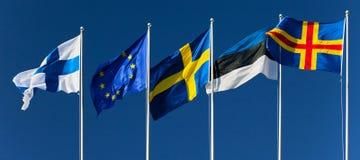 芬兰, Eurounion,瑞典,爱沙尼亚, Aland海岛的旗子 图库摄影