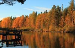 芬兰, Savonia :秋天木头和湖有老码头的在晚上太阳 免版税库存图片