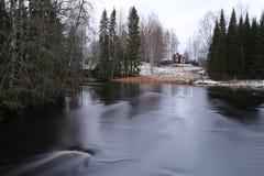 芬兰:一般风景在早期的冬天 免版税图库摄影