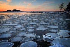 芬兰: 冬天日落 图库摄影