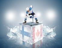 芬兰-加拿大比赛。冰的对恃球员 库存照片