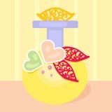 芬芳香水瓶黄色心脏花 库存图片
