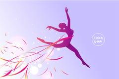 芭蕾的行动 一个跳跃的女孩的剪影 库存照片