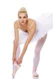 芭蕾美丽的舞蹈演员查出的白色 免版税库存图片