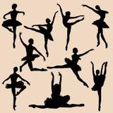 芭蕾舞女演员剪影黑色集合 免版税图库摄影