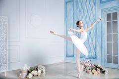 年轻芭蕾舞女演员在演播室跳舞 免版税库存照片